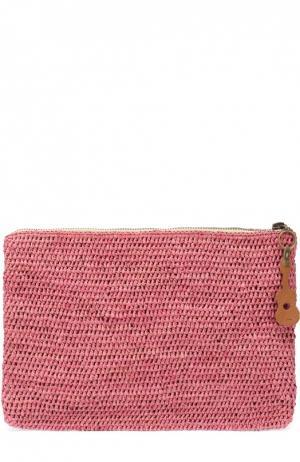 Клатч из рафии на молнии Sans-Arcidet. Цвет: розовый