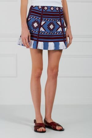 Льняная юбка-мини Croatia Vita Kin. Цвет: голубой