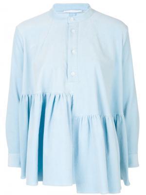 Вельветовая блузка с оборкой Peter Jensen. Цвет: синий