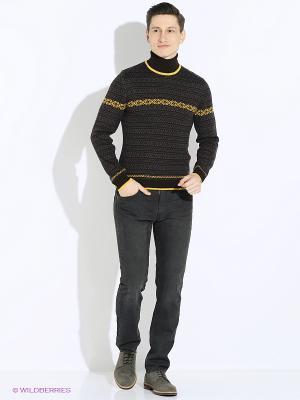 Свитер JB casual. Цвет: серо-коричневый, желтый
