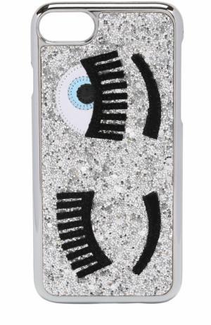 Чехол для iPhone 7 с глиттером и аппликацией Chiara Ferragni. Цвет: серебряный