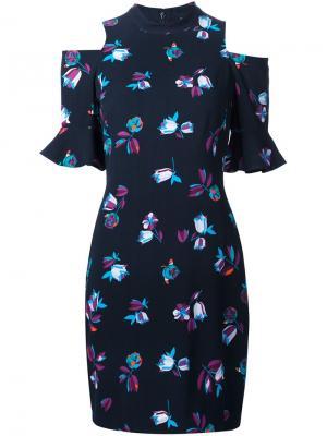 Платье с цветочным принтом Rebecca Taylor. Цвет: синий