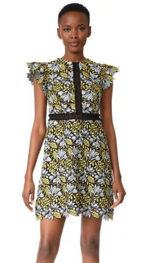 Кружевное платье с рукавами-крылышками Cynthia Rowley. Цвет: лимонный, другие