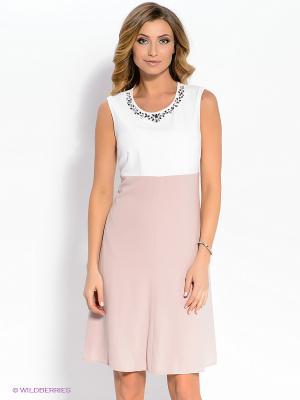 Платье Vera Mont. Цвет: бледно-розовый, белый