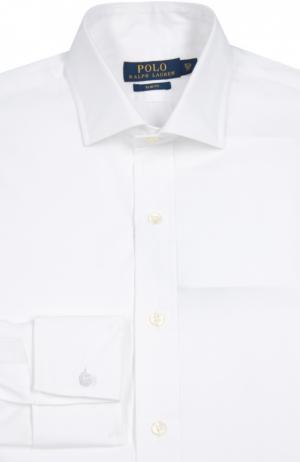 Хлопковая сорочка с манжетами под запонки Polo Ralph Lauren. Цвет: белый