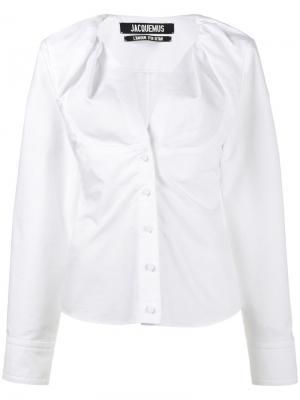 Рубашка без воротника Jacquemus. Цвет: белый