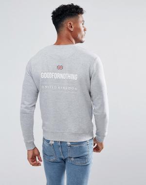 Good For Nothing Серый свитшот с принтом на спине. Цвет: серый