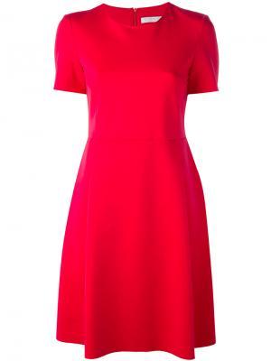 Расклешенное платье с короткими рукавами Harris Wharf London. Цвет: розовый и фиолетовый