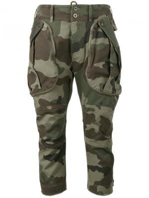 Укороченные брюки с камуфляжным принтом Faith Connexion. Цвет: зелёный