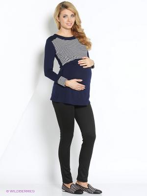 Джемпер для беременных и кормящих ФЭСТ. Цвет: темно-синий