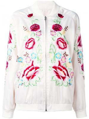 Куртка-бомбер  с вышивкой роз P.A.R.O.S.H.. Цвет: белый