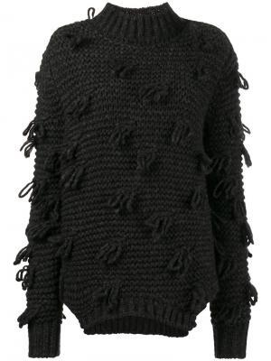 Свитер крупной вязки с декоративными петлями Simone Rocha. Цвет: серый