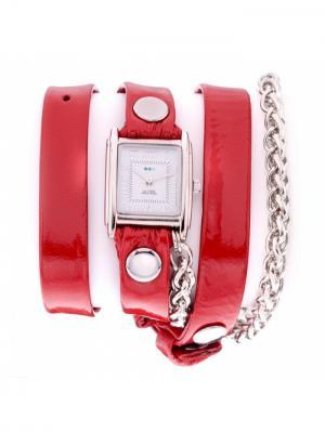 Часы La Mer Collections Chain Motor Red Patent Silver. Цвет: красный