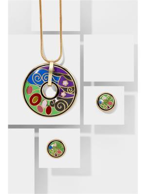 Набор украшений Танец Стихий: цепочка с кулоном и серьги Nothing but Love. Цвет: золотистый, зеленый, синий