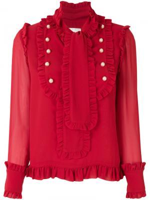 Блузка с оборкой Edward Achour Paris. Цвет: красный