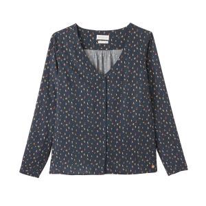 Блузка с V-образным воротником, рисунком CORETTA HARRIS WILSON. Цвет: темно-синий