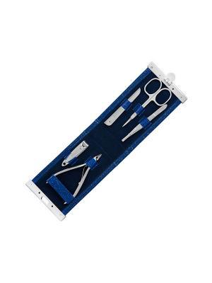 Маникюрный набор Solinberg Classic Line 416, 5 предметов, футляр - экокожа.. Цвет: серебристый
