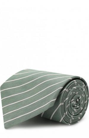 Шелковый галстук в полоску Brioni. Цвет: хаки
