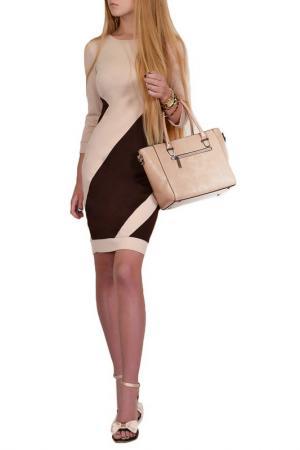 Повседневное платье FRANCESCA LUCINI. Цвет: бежевый, коричневый