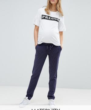 Mama.licious Свободные брюки в тонкую полоску Mamalicious. Цвет: темно-синий
