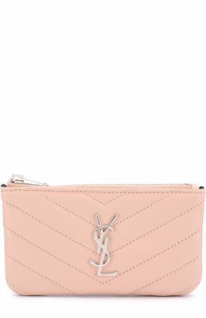 Футляр для ключей с логотипом бренда Saint Laurent. Цвет: светло-розовый