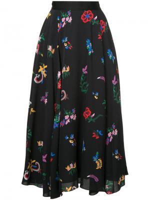 Юбка-миди с цветочным принтом Novis. Цвет: чёрный