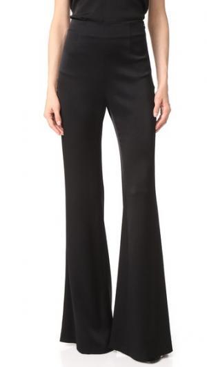 Атласные брюки с высокой талией Galvan London. Цвет: голубой