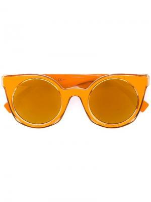 Солнцезащитные очки в круглой оправе Fendi Eyewear. Цвет: жёлтый и оранжевый