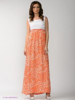 Платье PENYE MOOD. Цвет: оранжевый, белый
