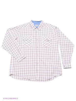 Рубашка Westrenger. Цвет: бледно-розовый, белый, темно-красный