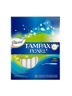 Гигиенические тампоны Discreet Pearl Super 18 шт. TAMPAX. Цвет: темно-синий