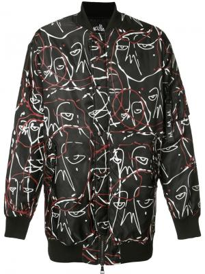 Куртка-бомбер с абстрактным принтом Haculla. Цвет: чёрный