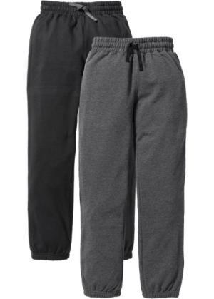 Спортивные брюки с лампасами (2 штуки) (черный/антрацитовый меланж) bonprix. Цвет: черный/антрацитовый меланж