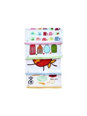 Набор кухонных полотенец, 4 штуки Dream time. Цвет: белый, желтый, зеленый