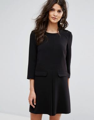 BA&SH Платье-трапеция с карманами. Цвет: черный