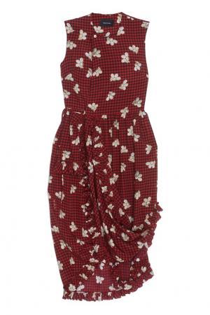 Шелковое платье Simone Rocha. Цвет: красный, черный