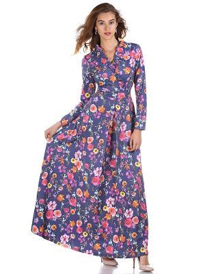 Платье OLIVEGREY. Цвет: синий, светло-коралловый, фуксия