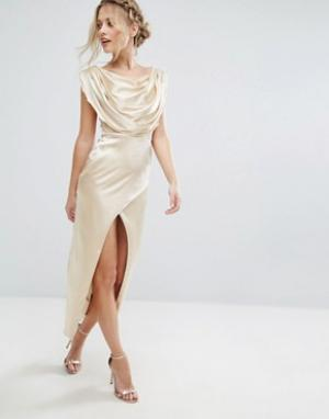 VLabel London Платье миди Brook. Цвет: золотой