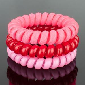 Комплект Резинок-Пружинок для волос 3 шт/уп, арт. РПВ-314 Бусики-Колечки. Цвет: розовый