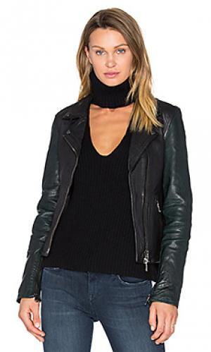 Кожаная байкерская куртка sadie baldwin. Цвет: черный