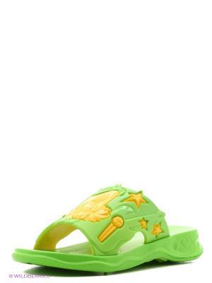 Шлепанцы Дюна. Цвет: салатовый, желтый