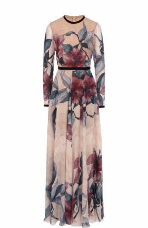 Приталенное платье-макси с принтом Elie Saab. Цвет: бежевый