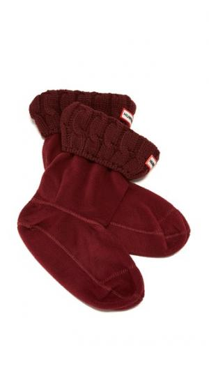 Носки с отделкой в виде косичек под короткие ботинки Hunter Boots. Цвет: бурый