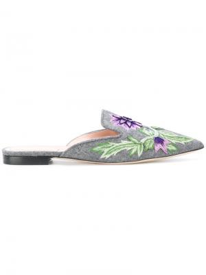 Слиперы с цветочной вышивкой Alberta Ferretti. Цвет: серый