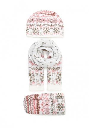 Комплект шапка, шарф и варежки Ferz. Цвет: розовый