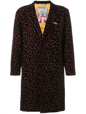 Пальто с леопардовым принтом Gcds. Цвет: красный