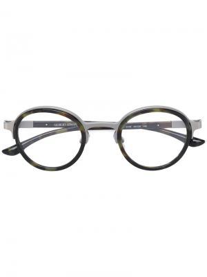 Камуфляжные очки в круглой оправе Giorgio Armani. Цвет: чёрный