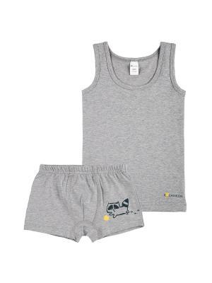 Комплект белья (майка, трусы-боксеры) KOGANKIDS. Цвет: серый меланж