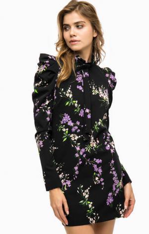 Короткое платье с цветочным принтом Pinko. Цвет: черный