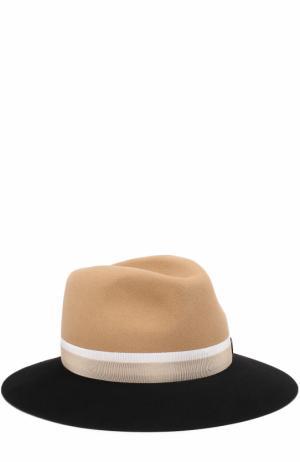Фетровая шляпа Henrietta с лентой Maison Michel. Цвет: темно-бежевый